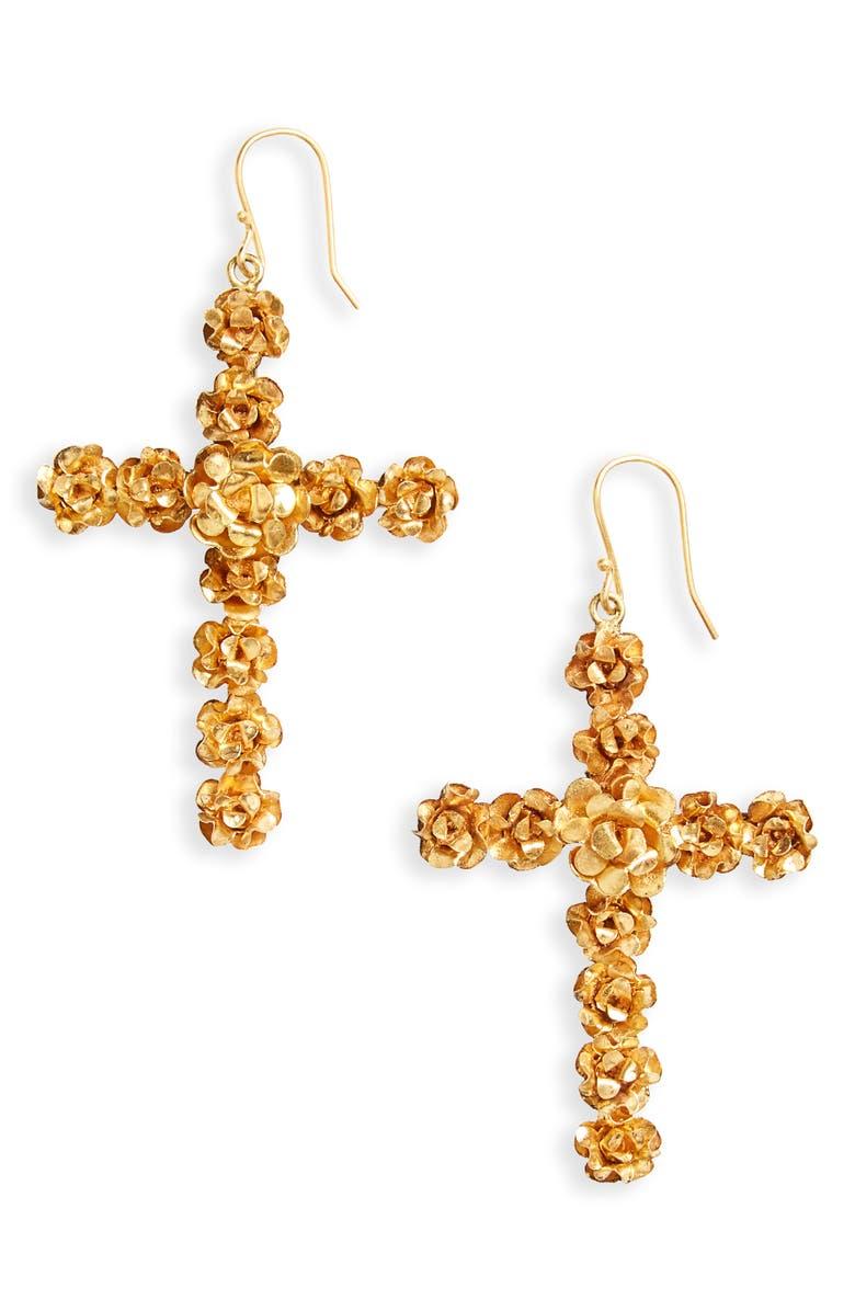 VIRGINS SAINTS & ANGELS Rose Cross Drop Earrings, Main, color, 710
