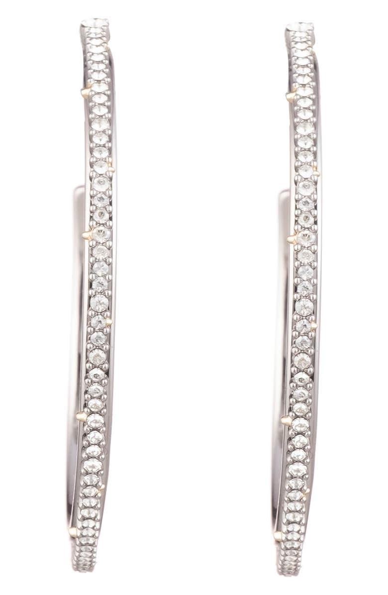 ALEXIS BITTAR Crystal Encrusted Hoop Earrings, Main, color, SILVER