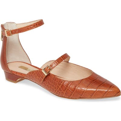 Louise Et Cie Claire Ankle Strap Flat, Brown