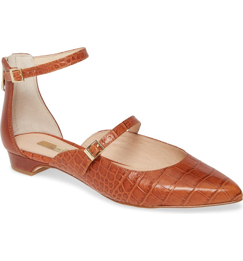 LOUISE ET CIE Claire Ankle Strap Flat, Main, color, BROWN CROCO PRINT LEATHER