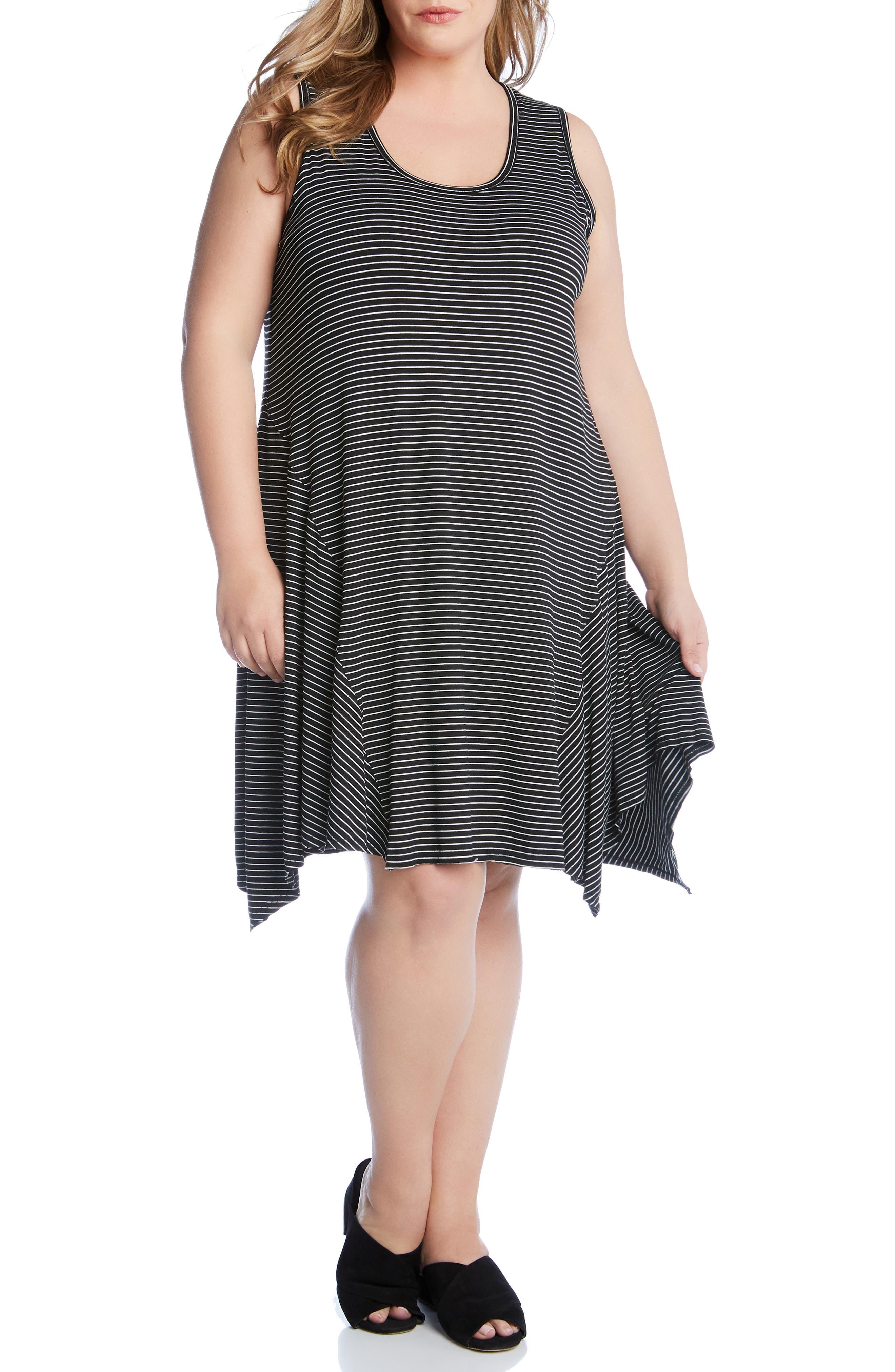 Plus Size Karen Kane Stripe Handkerchief Hem Dress, Black