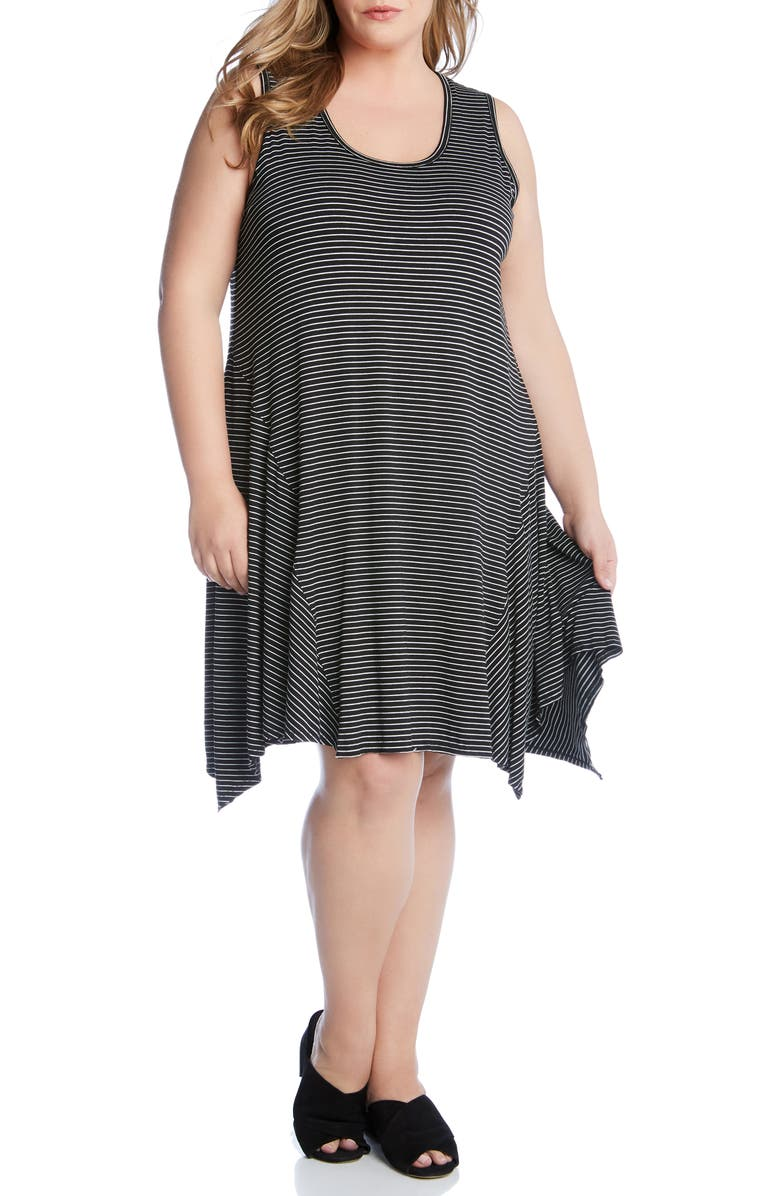 KAREN KANE Stripe Handkerchief Hem Dress, Main, color, 001