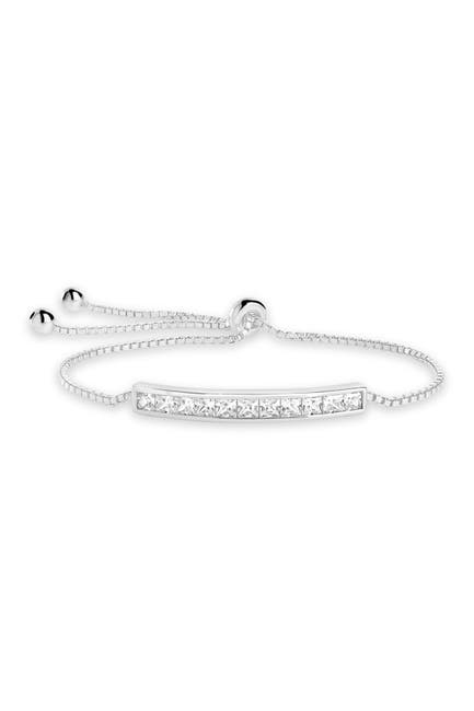 Image of Sterling Forever Rhodium Plated Brass Inlaid CZ Bar Bolo Bracelet