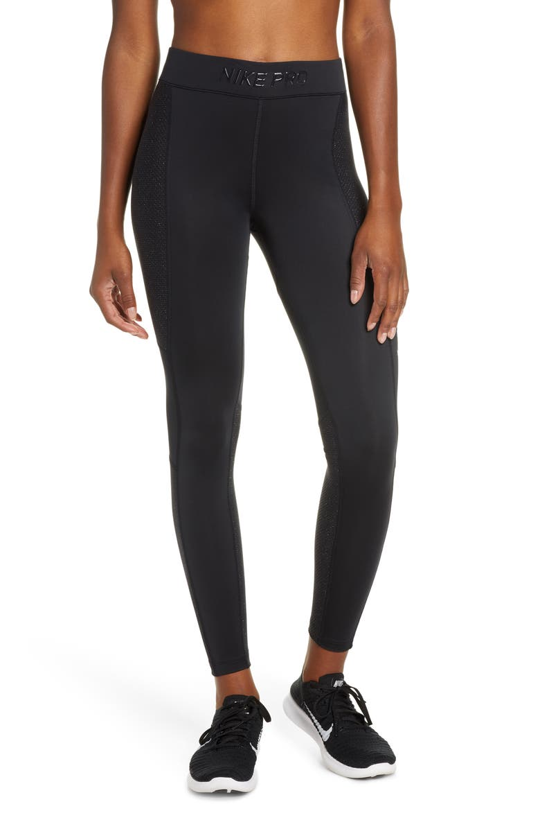 NIKE Pro Warm Hollywood Tights, Main, color, BLACK/ CLEAR