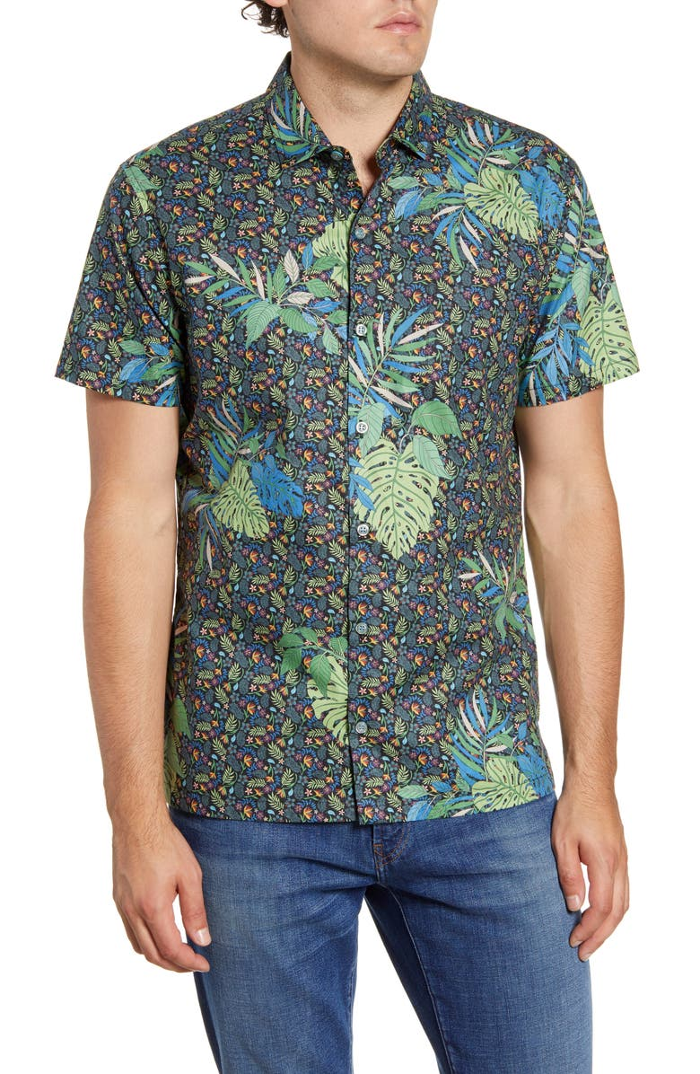 TORI RICHARD Microtrop Regular Fit Floral Short Sleeve Button-Up Shirt, Main, color, BLACK