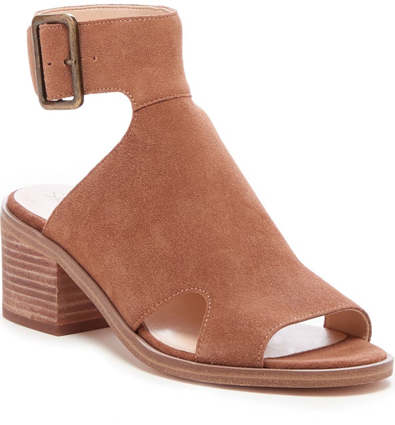 SOLE SOCIETY Tally Ankle Cuff Sandal, Main, color, HONEY SUEDE