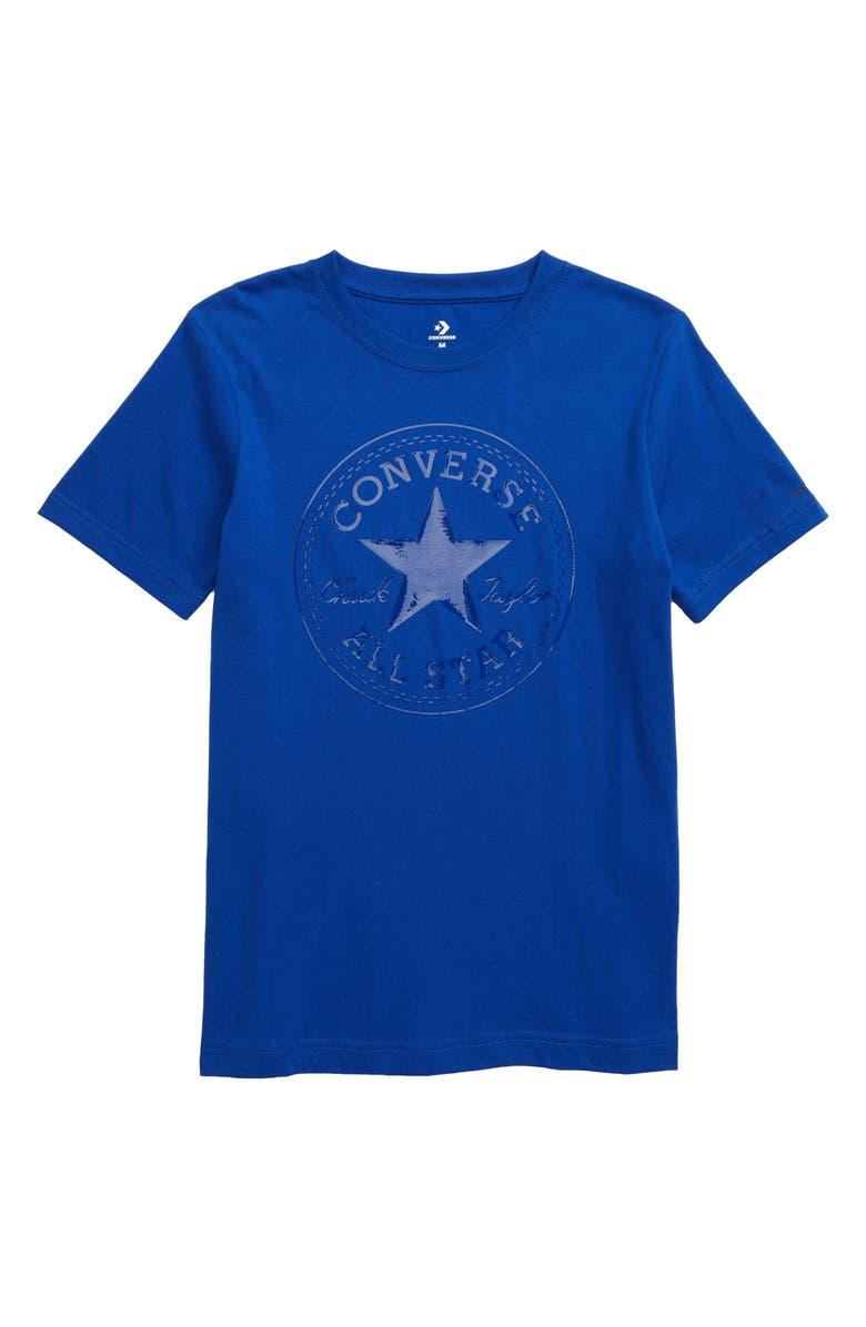CONVERSE Chuck Patch T-Shirt, Main, color, CONVERSE BLUE