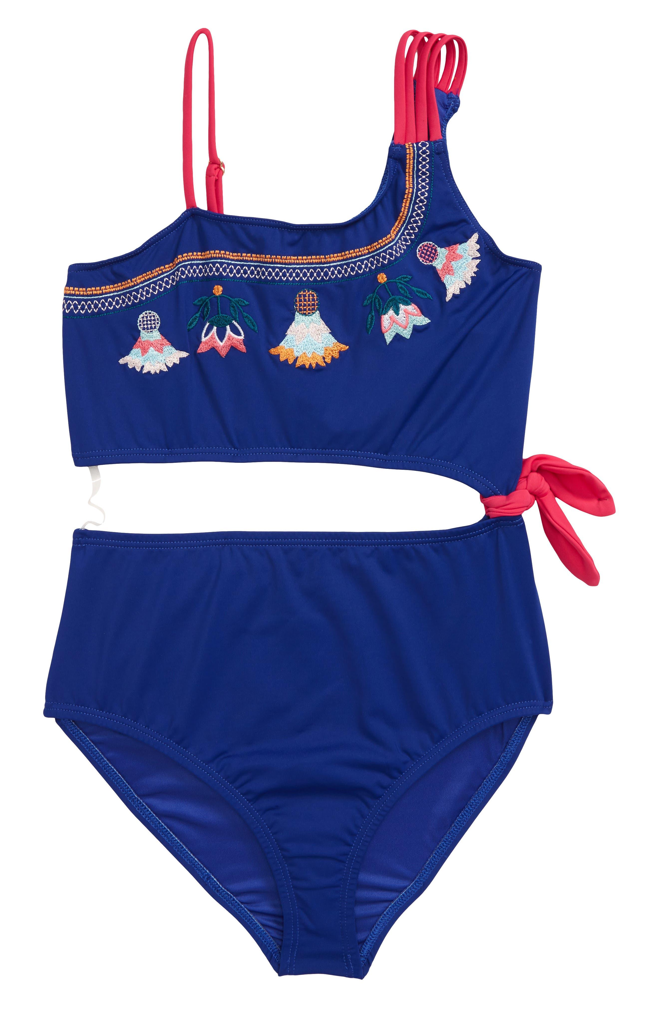 Girls Heart And Harmony Embroidered Monokini Swimsuit