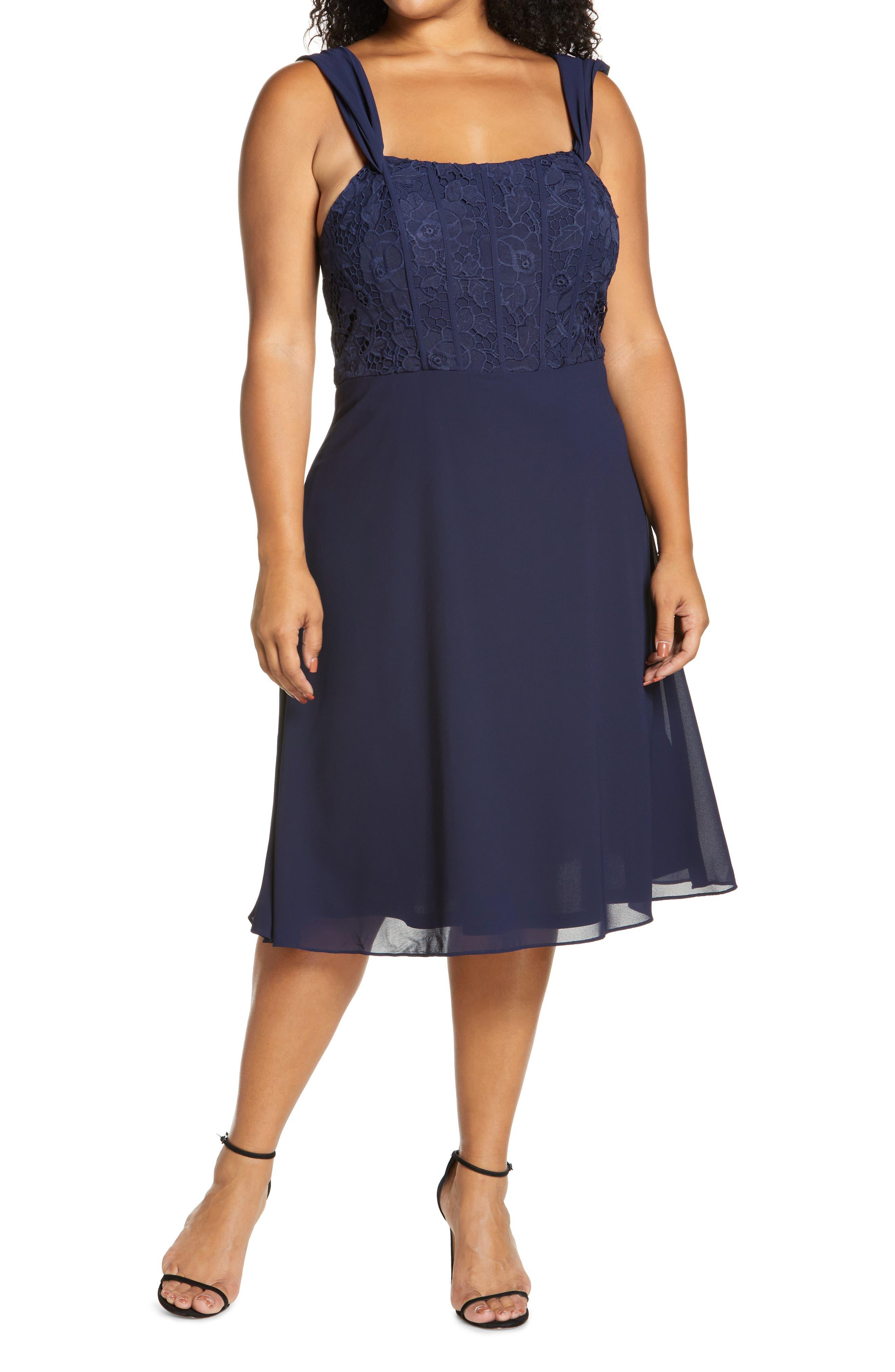 Curve Cheri Lace Bodice Cocktail Dress