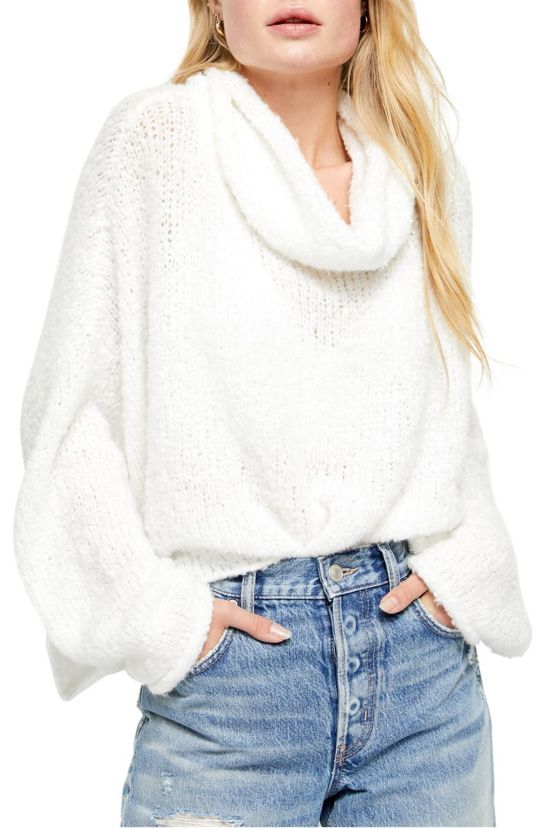 FREE PEOPLE BFF Cowl Neck Sweater, Main, color, IVORY