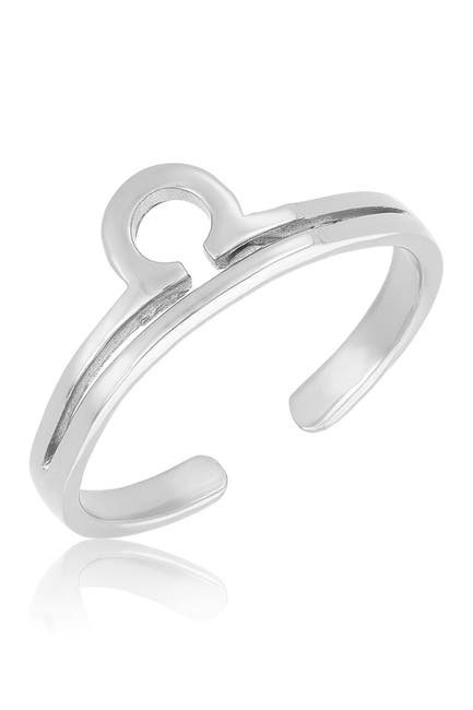 Image of Sterling Forever Sterling Silver Adjustable Zodiac Ring - Libra