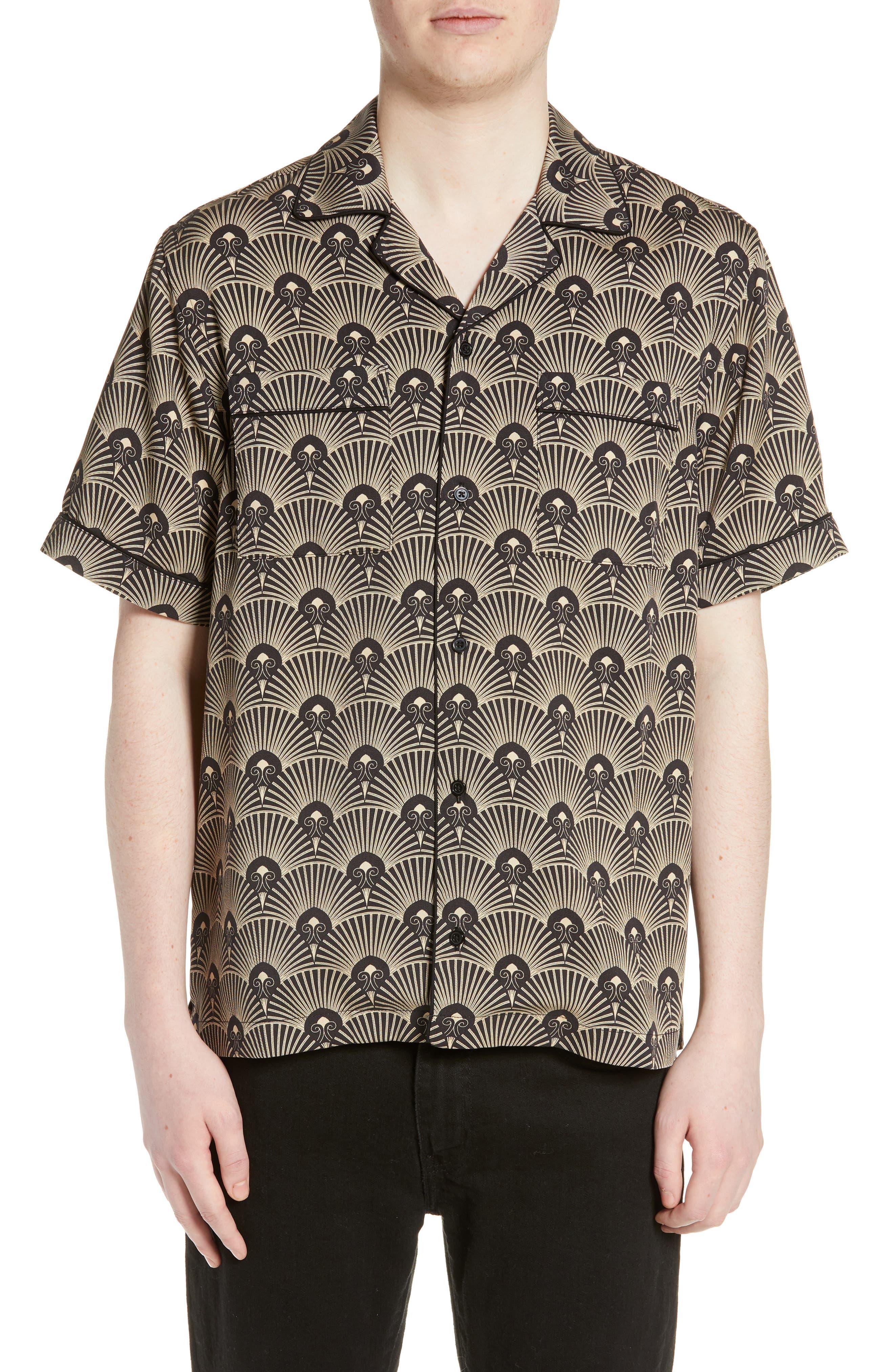 Cameron Deco Print Camp Shirt, Main, color, 001