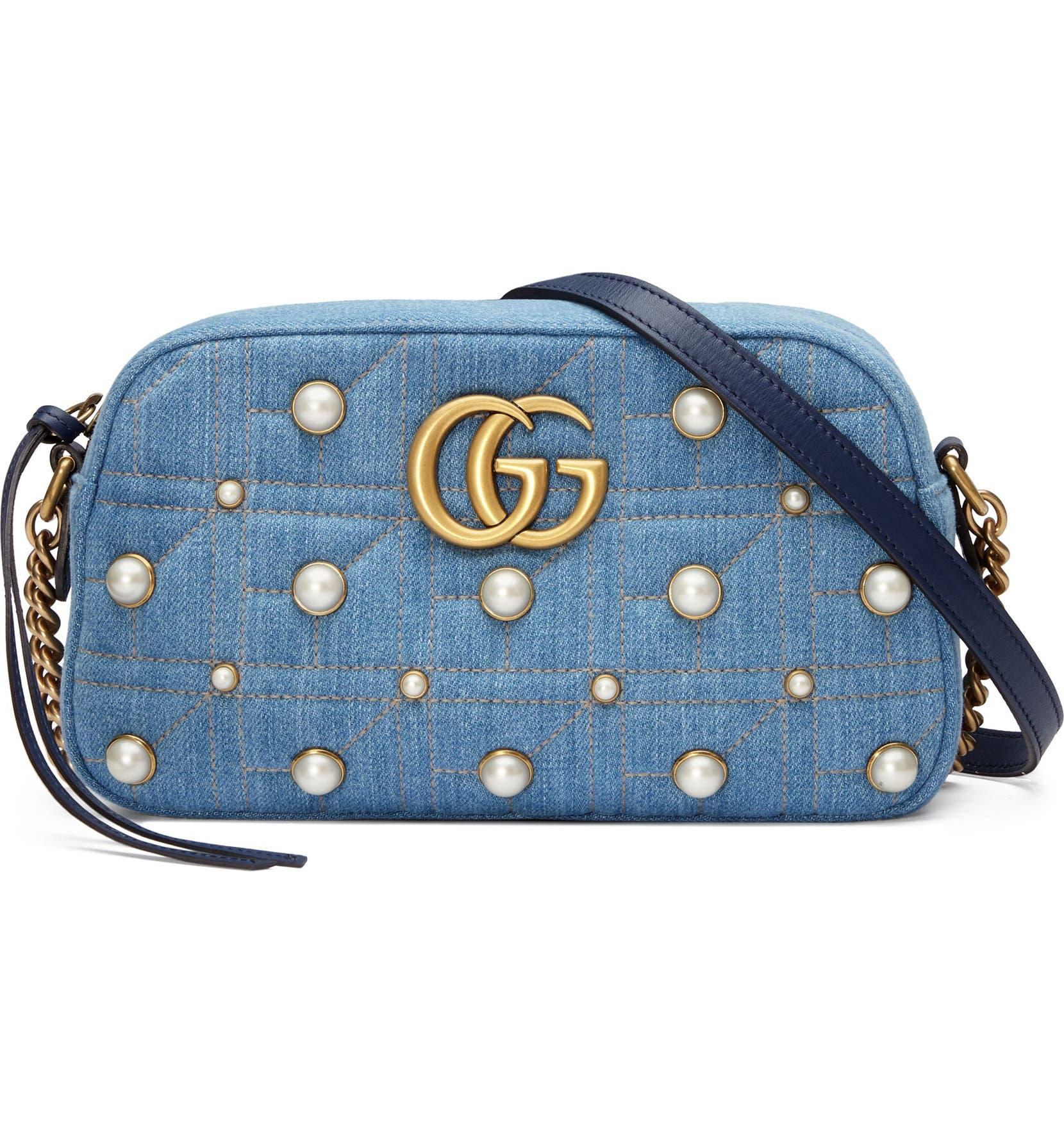 59fab44cddce Gucci Marmont 2.0 Imitation Pearl Embellished Denim Camera Bag   Nordstrom