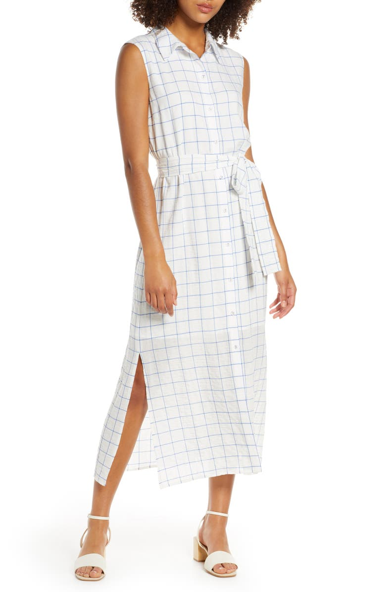CHARLES HENRY Belted Shirtdress, Main, color, BLUE CHECKER