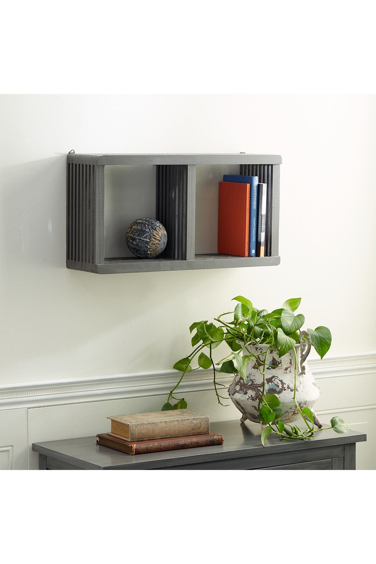 "Image of Willow Row Grey Wood Contemporary Wall Shelf, 12"" x 23"" x 7"""
