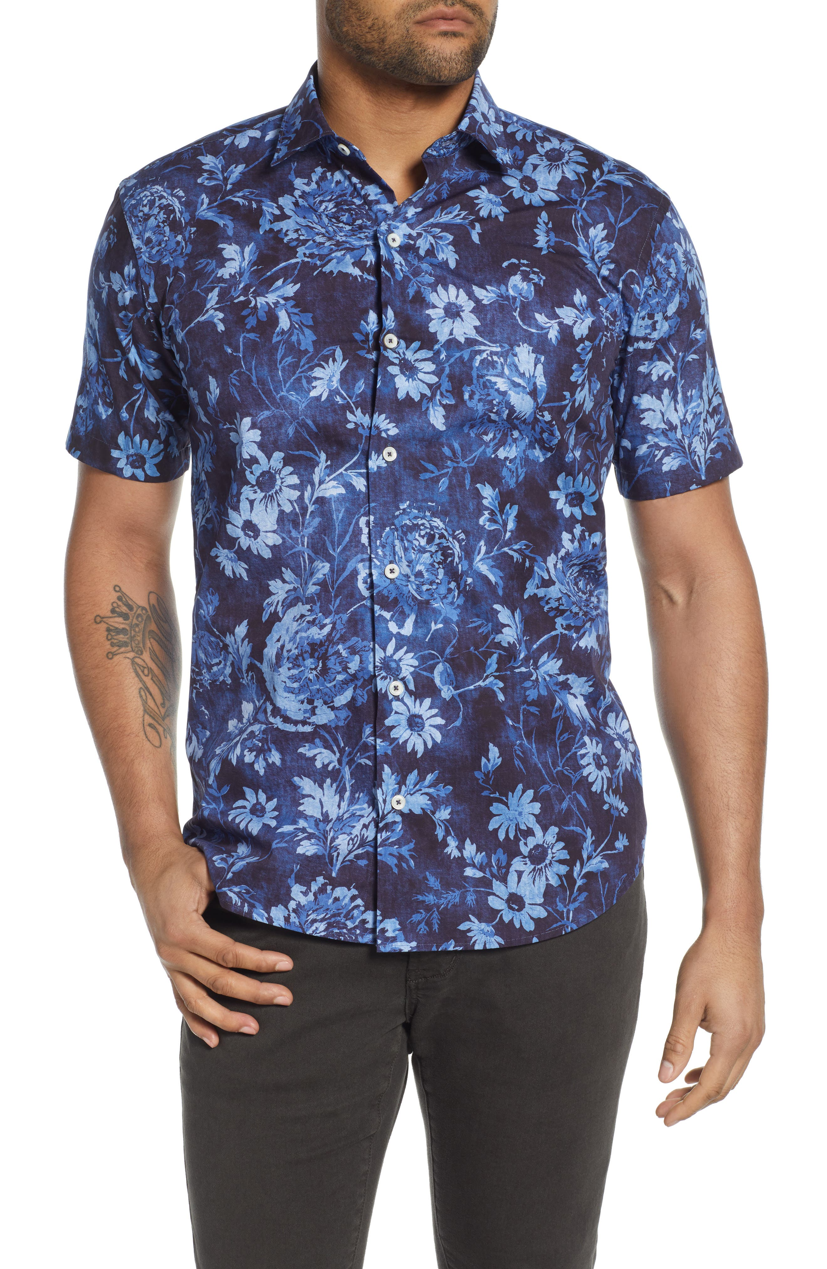 Watery flowers splash in a spectrum of blues all over a sport shirt tailored from crisp cotton in a fit that\\\'s easy to wear tucked or untucked. Style Name: Bugatchi Shaped Fit Floral Short Sleeve Button-Up Shirt. Style Number: 6039885. Available in stores.