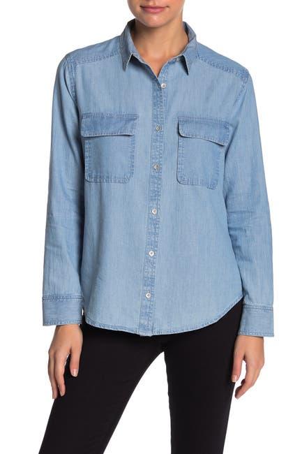 Image of Caslon Two Pocket Chambray Shirt