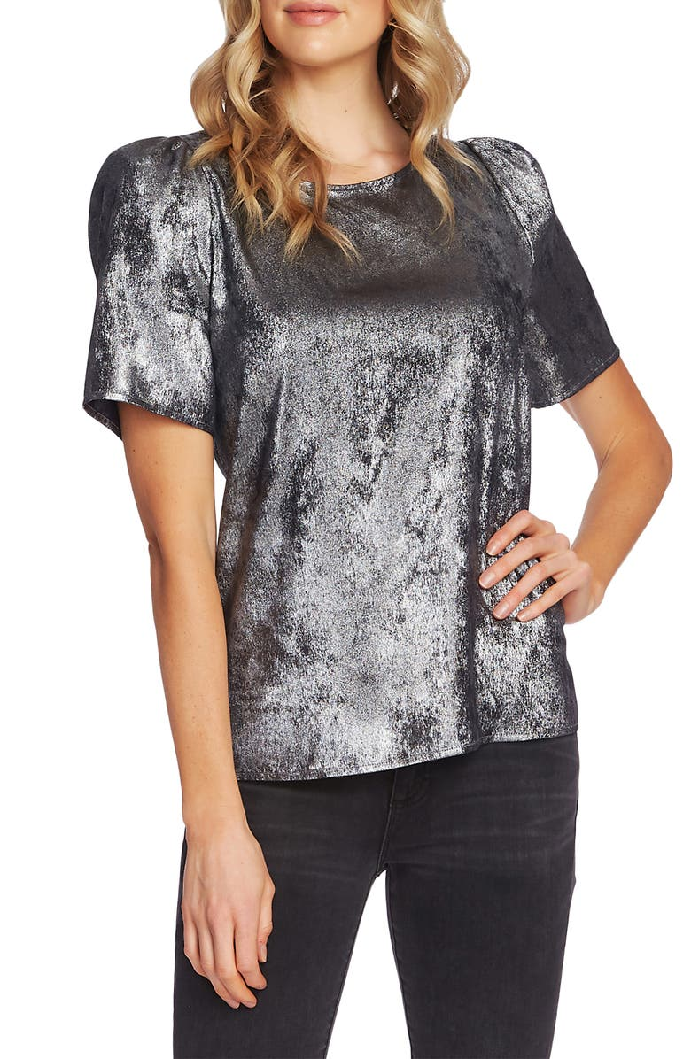 VINCE CAMUTO Puff Sleeve Metallic Top, Main, color, RICH BLACK