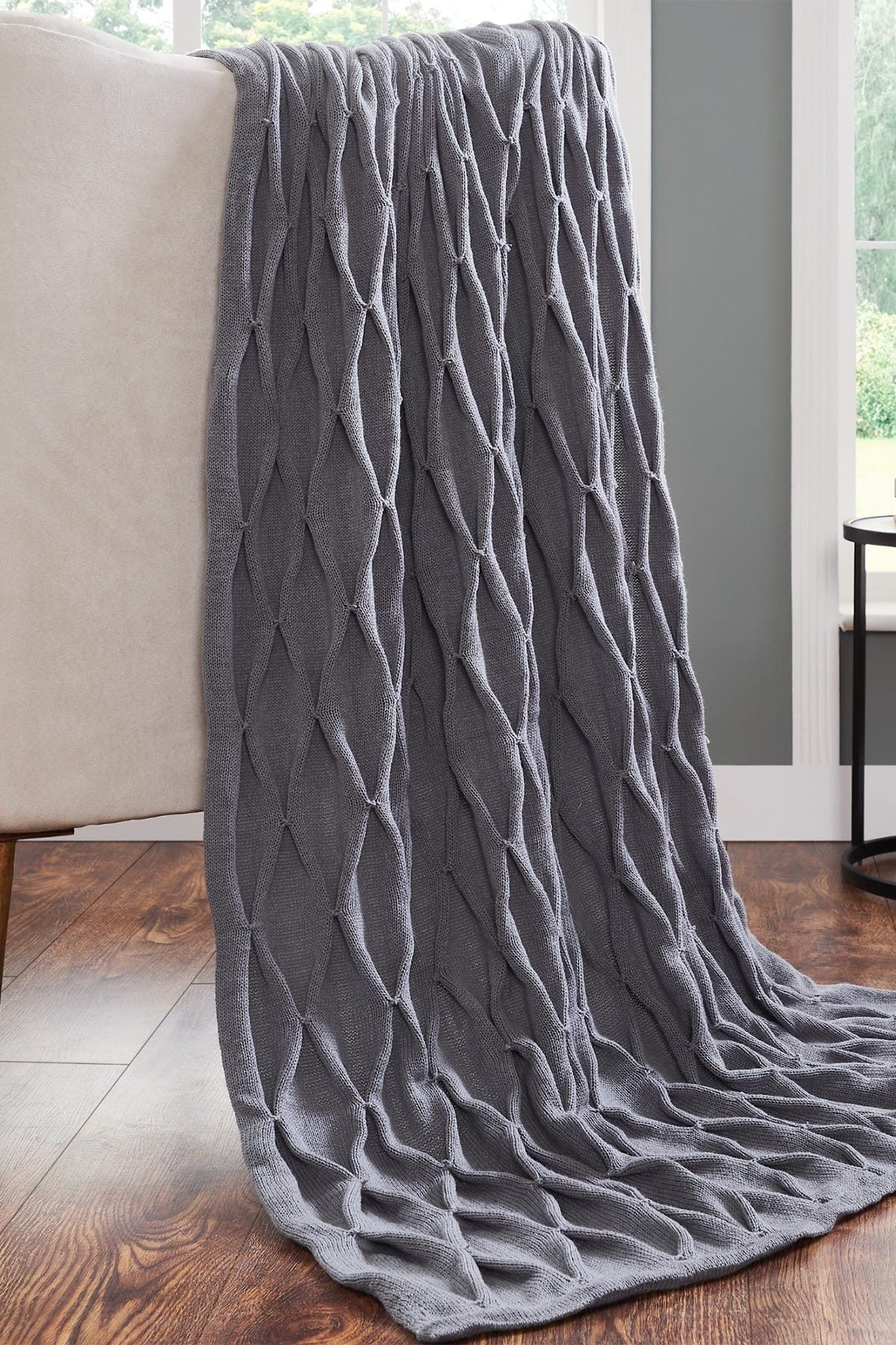 "Image of Modern Threads Acrylic Embellished Throw - 50"" X 60"" - Samira Charcoal"