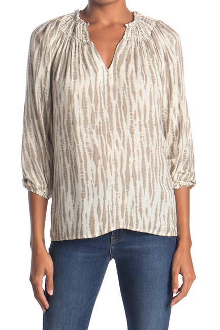 Image of Bobeau Long Sleeve Smocked Collar Top
