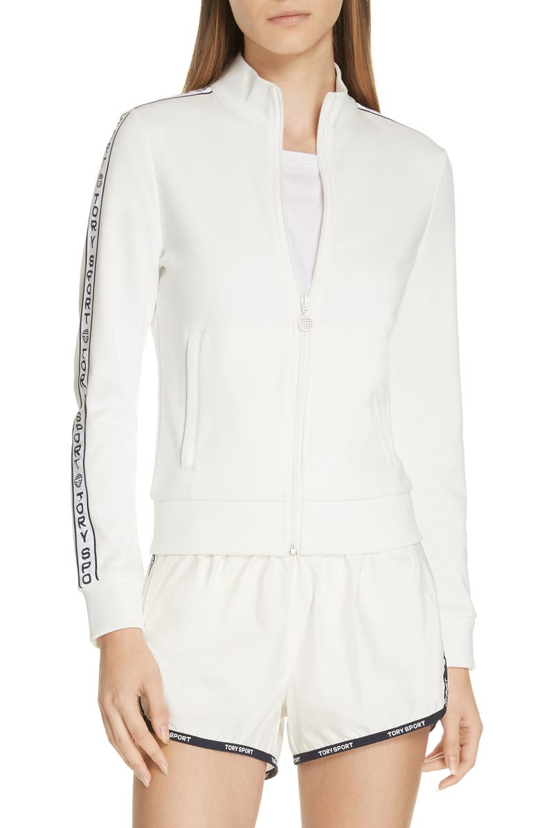TORY SPORT Banner Track Jacket, Main, color, SNOW WHITE