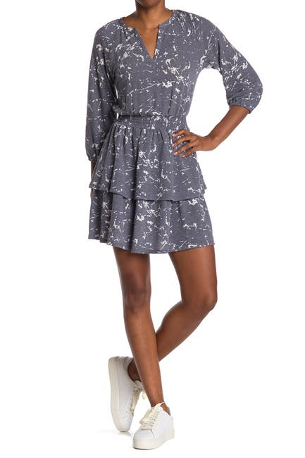 Image of Collective Concepts Printed Smocked Waist Tiered Mini Dress