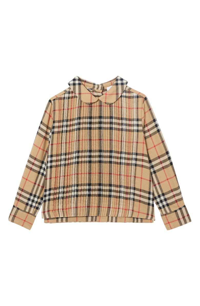 BURBERRY Priscilla Check Print Top, Main, color, ARCHIVE BEIGE CHECK