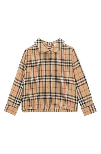 Burberry Girls' Priscilla Pintuck Vintage Check Shirt - Little Kid, Big Kid In Beige
