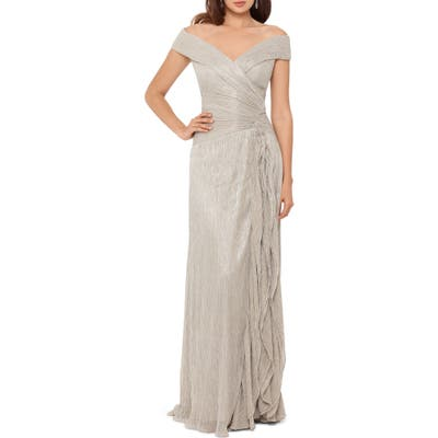 Xscape Metallic Plisse Off The Shoulder Gown, Metallic
