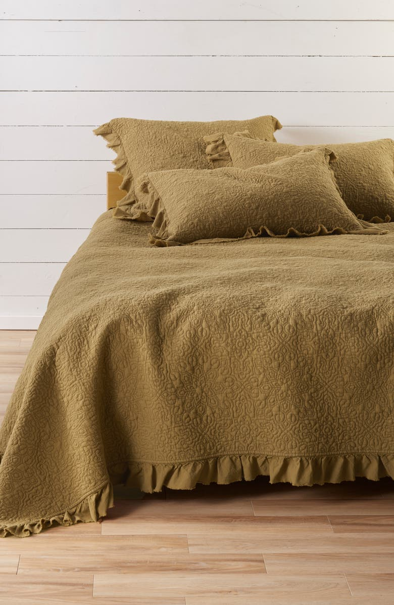 TREASURE & BOND Frayed Edge Stonewash Quilt, Main, color, OLIVE MARSH