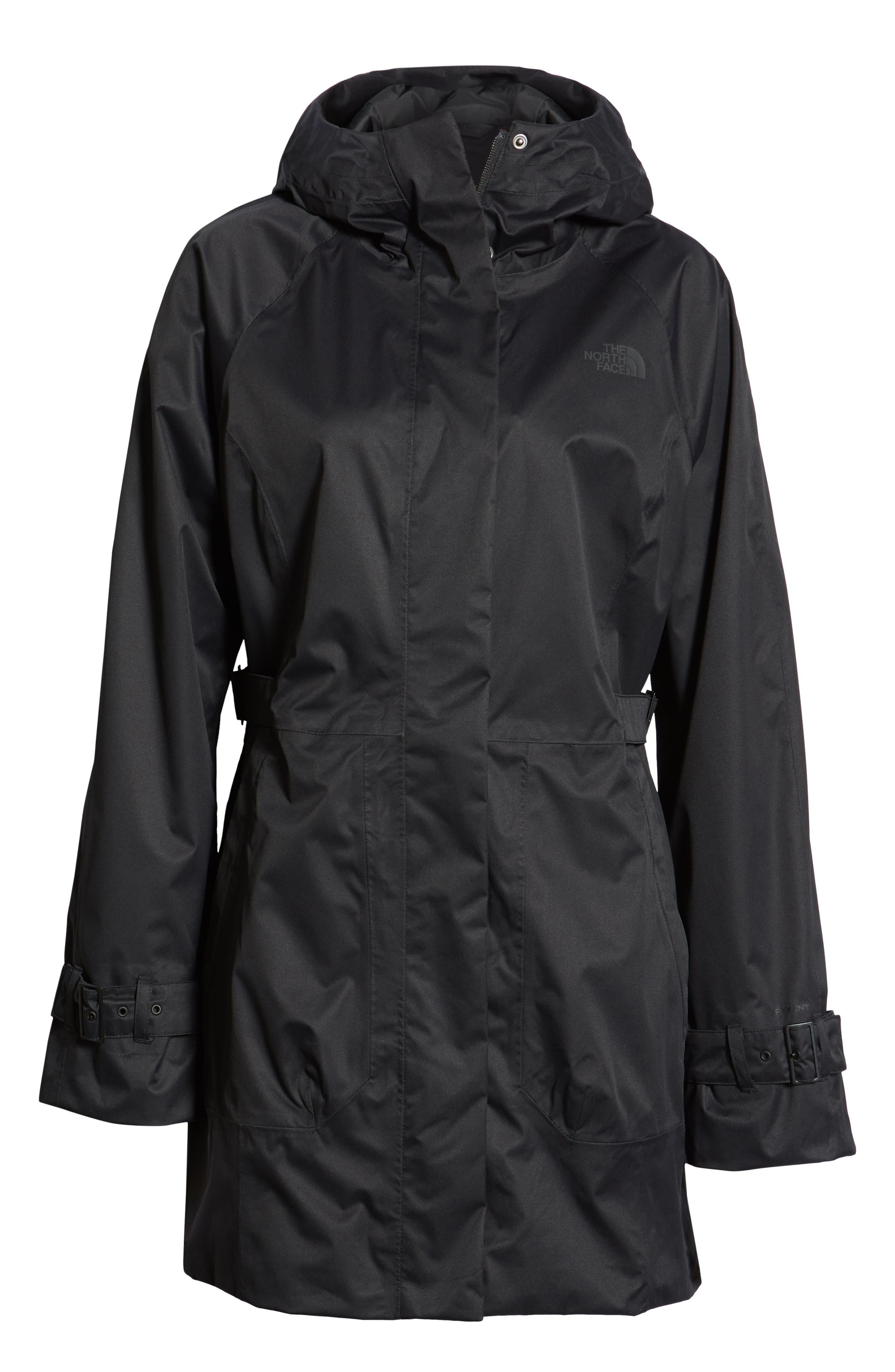 ,                             City Breeze Trench Raincoat,                             Alternate thumbnail 7, color,                             TNF BLACK