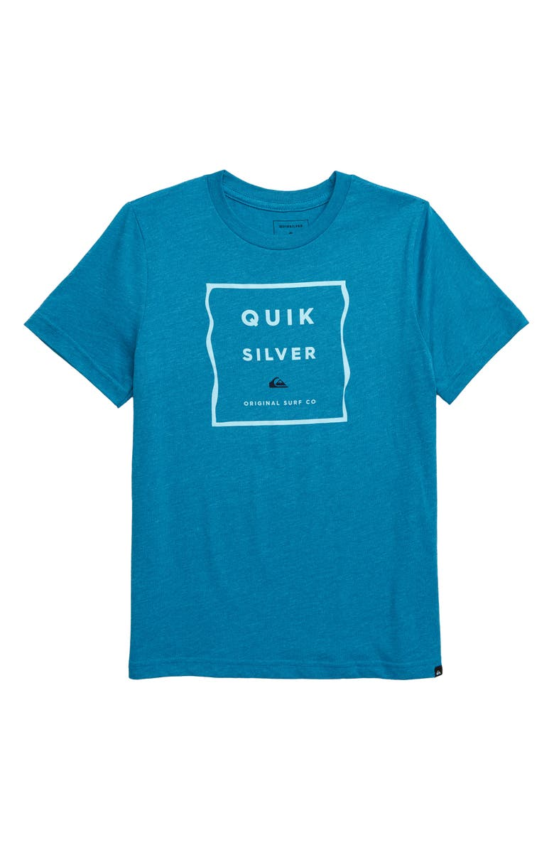 QUIKSILVER Box Blur T-Shirt, Main, color, CRYSTEAL TEAL HEATHER