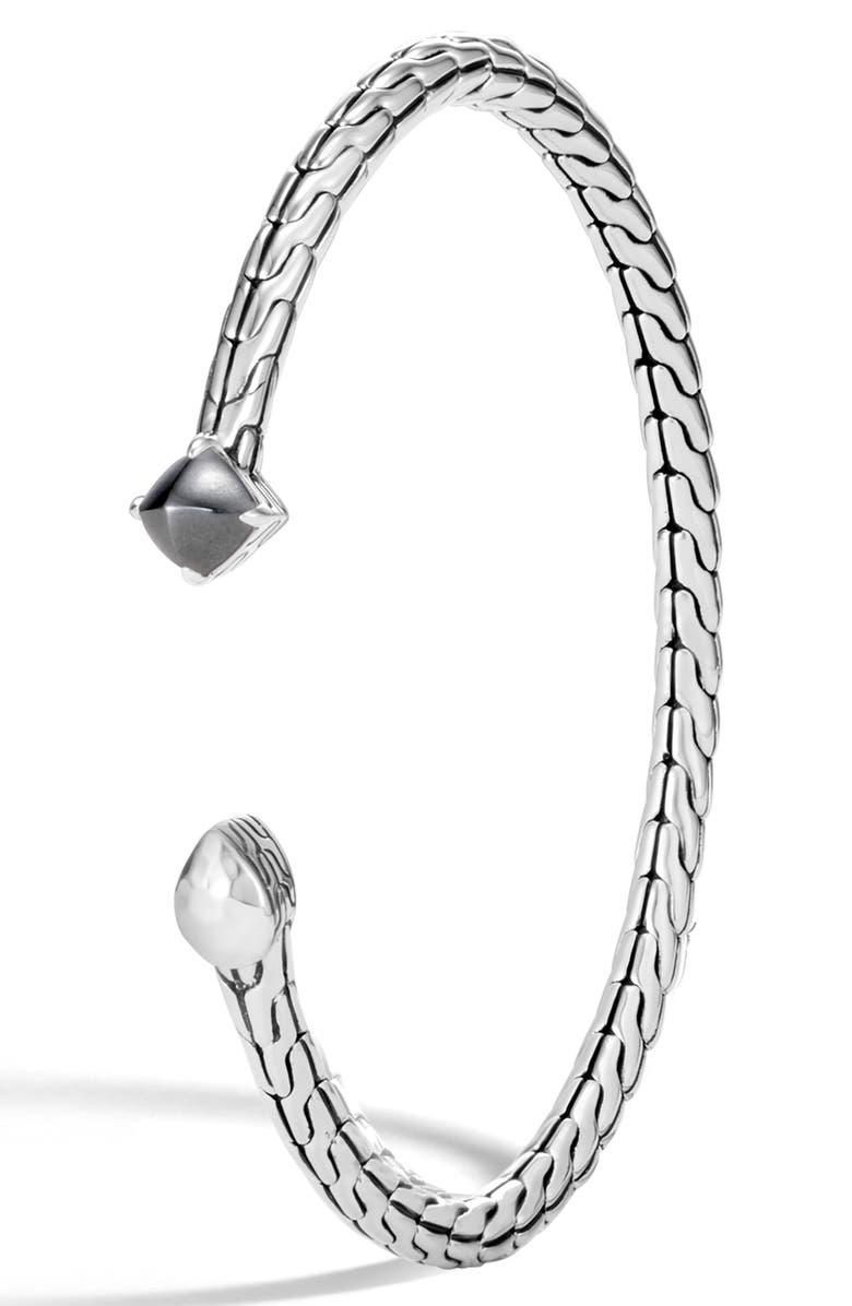 JOHN HARDY Chain Classic Hammered Flex Stone Bracelet, Main, color, SILVER/ HEMATITE