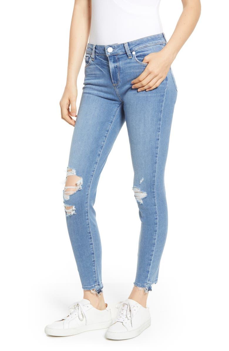 PAIGE Transcend - Verdugo Ripped Undone Hem Ankle Skinny Jeans, Main, color, 400