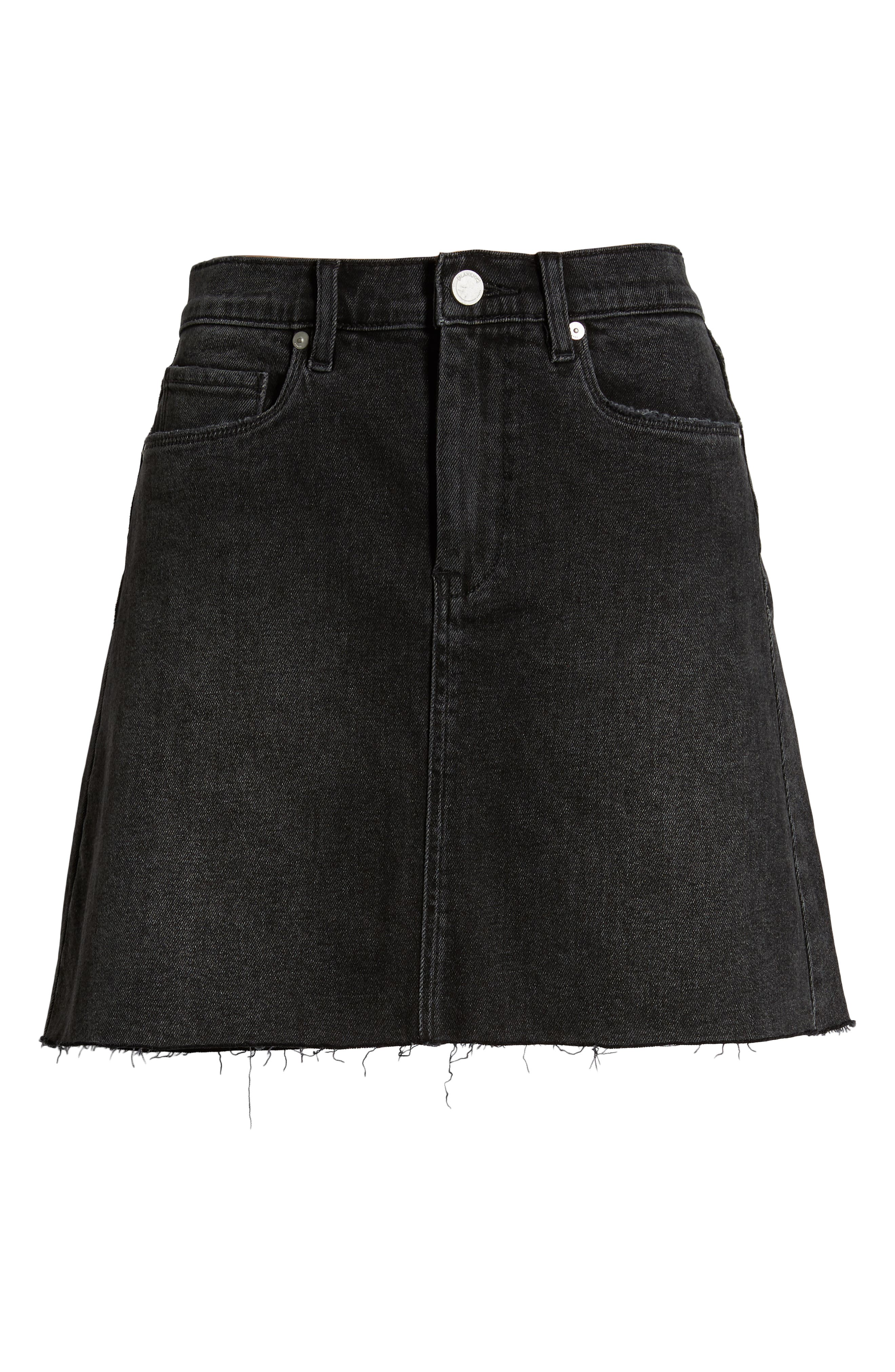 ,                             Raw Hem Denim Skirt,                             Alternate thumbnail 7, color,                             BEFORE AND AFTER