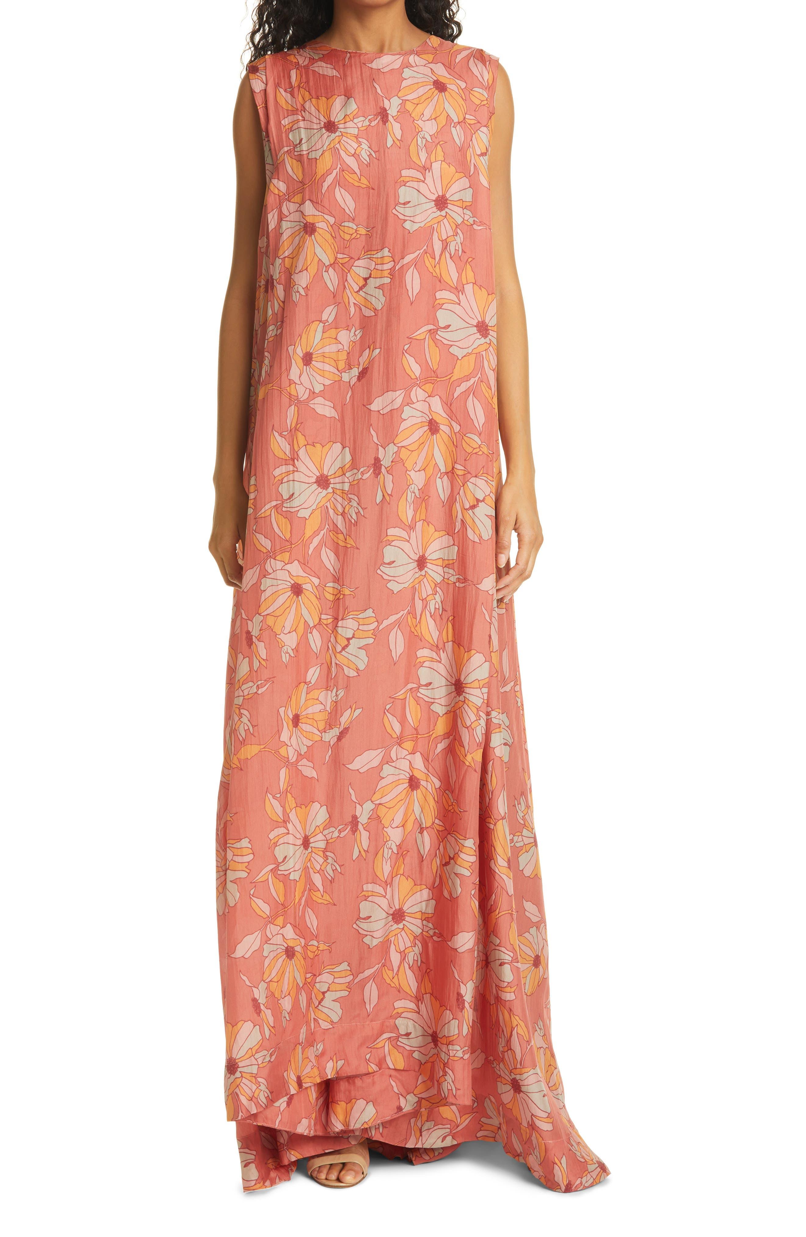 La Pedrera Floral Pleated Silk Shift Dress