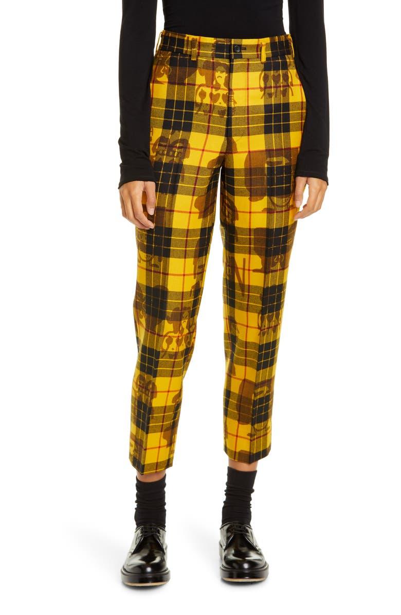 COMME DES GARÇONS Tartan High Waist Crop Wool Trousers, Main, color, 700