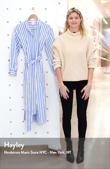 Half Placket Long Sleeve Stripe Midi Dress, sales video thumbnail