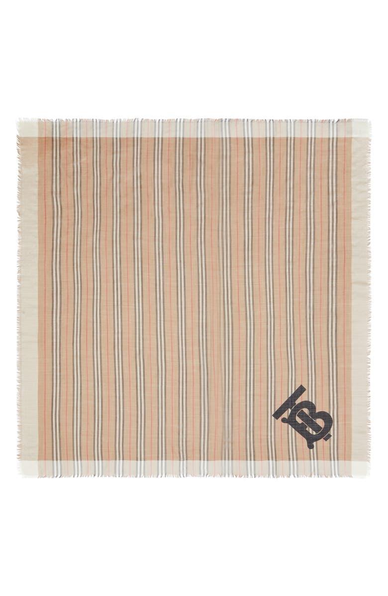 BURBERRY TB Monogram Heritage Stripe Scarf, Main, color, ARCHIVE BEIGE
