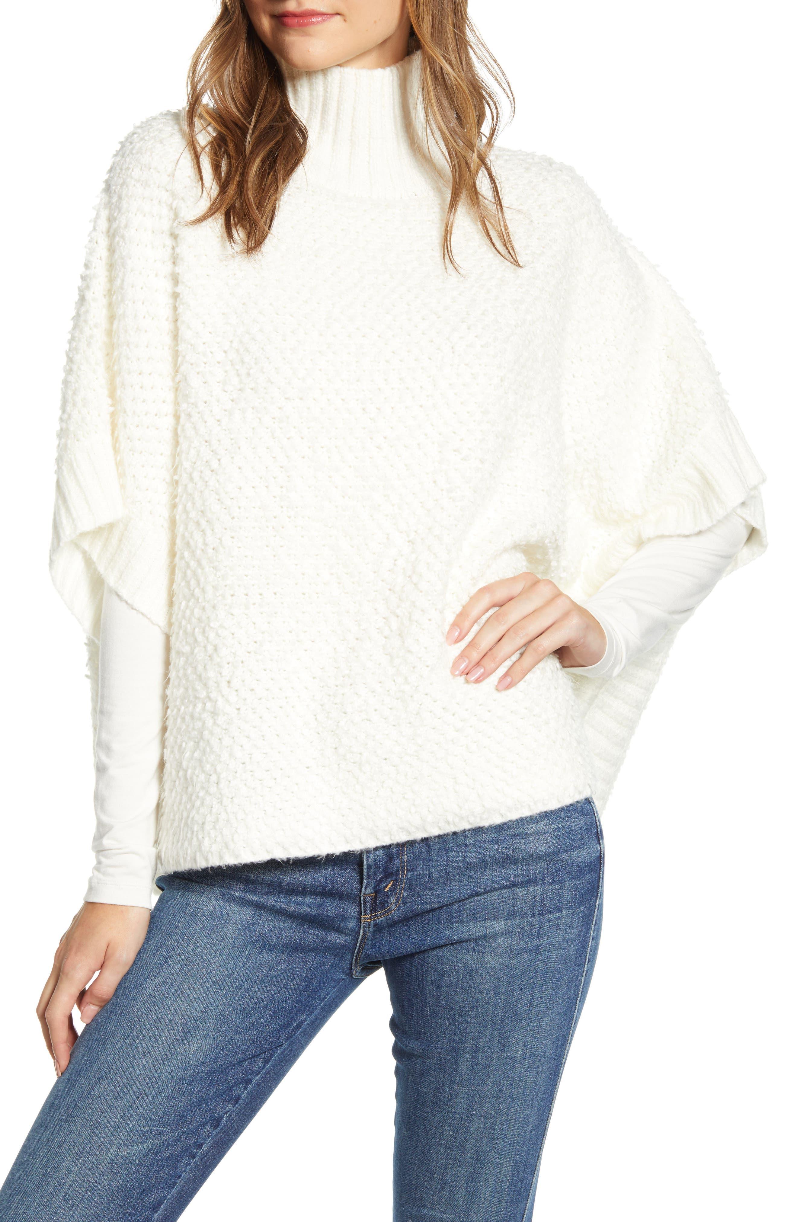 Lou & Grey Loopstitch Funnel Neck Poncho Sweater
