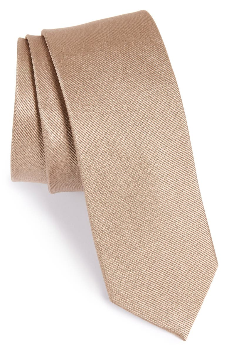 THE TIE BAR Solid Silk Tie, Main, color, CHAMPAGNE