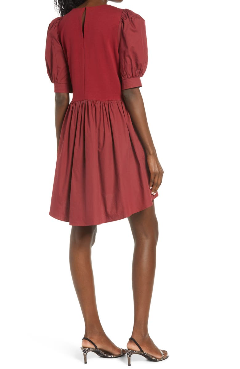 ENGLISH FACTORY Mixed Media Puff Sleeve Dress, Main, color, BURGUNDY