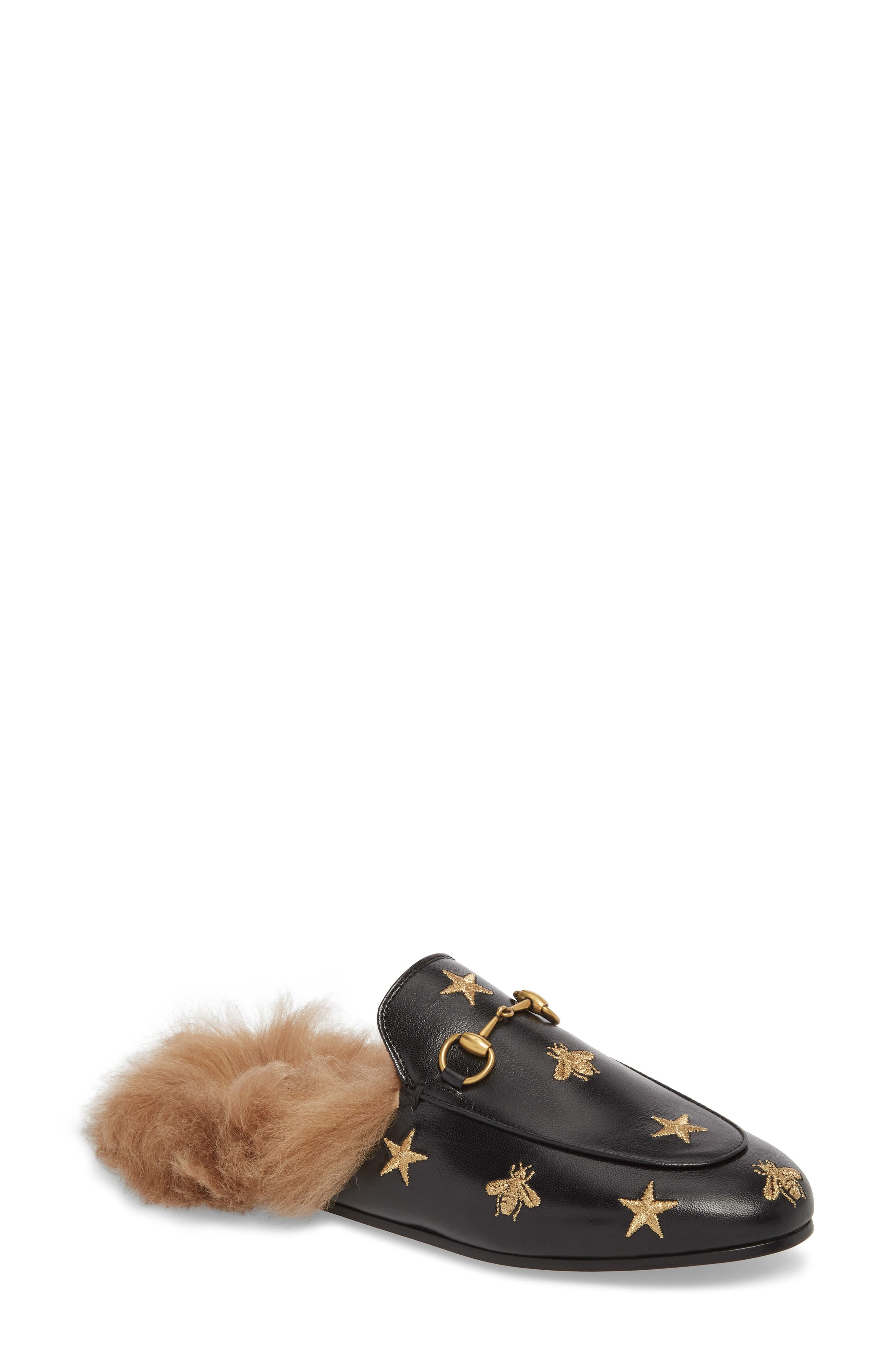 Gucci Princetown Genuine Shearling Bee Loafer Mule - Black