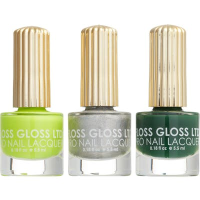 Floss Gloss Tropical Trio Set Of 3 Nail Lacquers - Intergalosstic/ Limon/ Palm