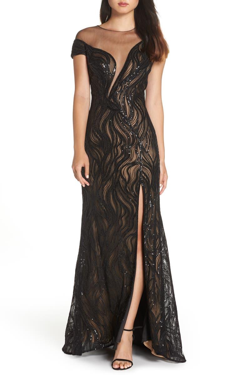 TADASHI SHOJI Lucilia Illusion Sequin Gown, Main, color, 001