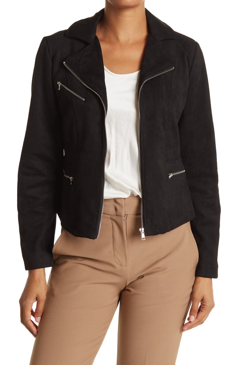OOKIE AND LALA Faux Suede Cropped Moto Jacket, Main, color, BLACK