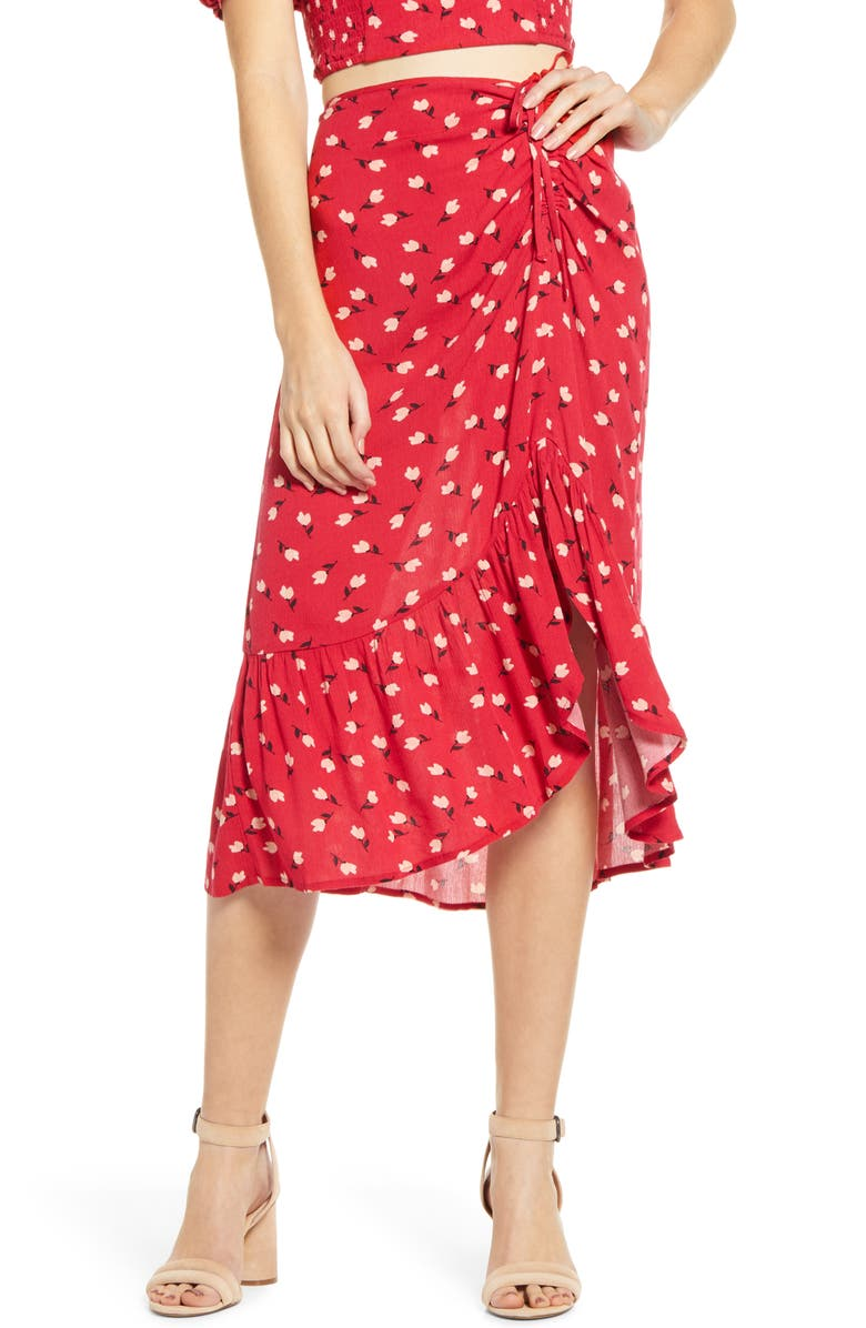 BAND OF GYPSIES Floral Ruched Midi Skirt, Main, color, 600