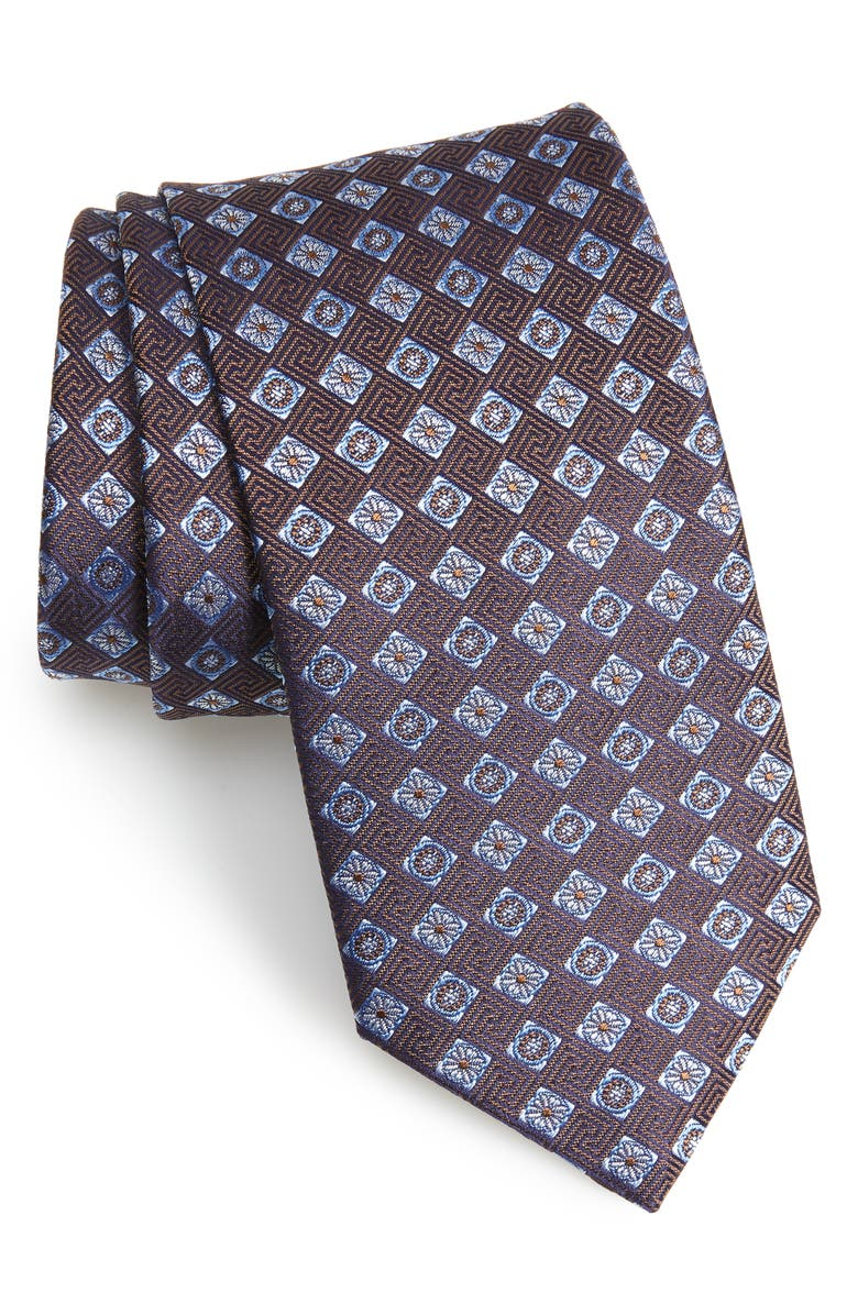 ETON Medallion Silk Tie, Main, color, BROWN