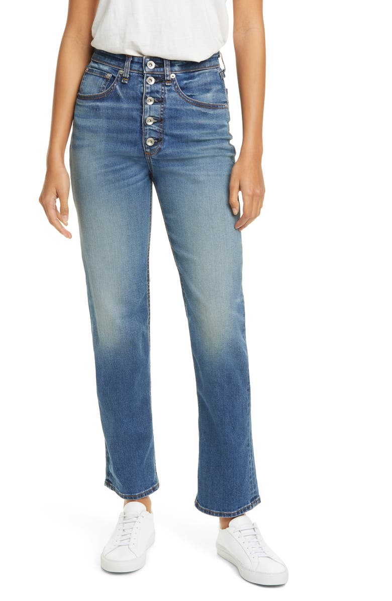 RAG & BONE Jane Super High Waist Exposed Button Fly Cigarette Jeans, Main, color, BREES