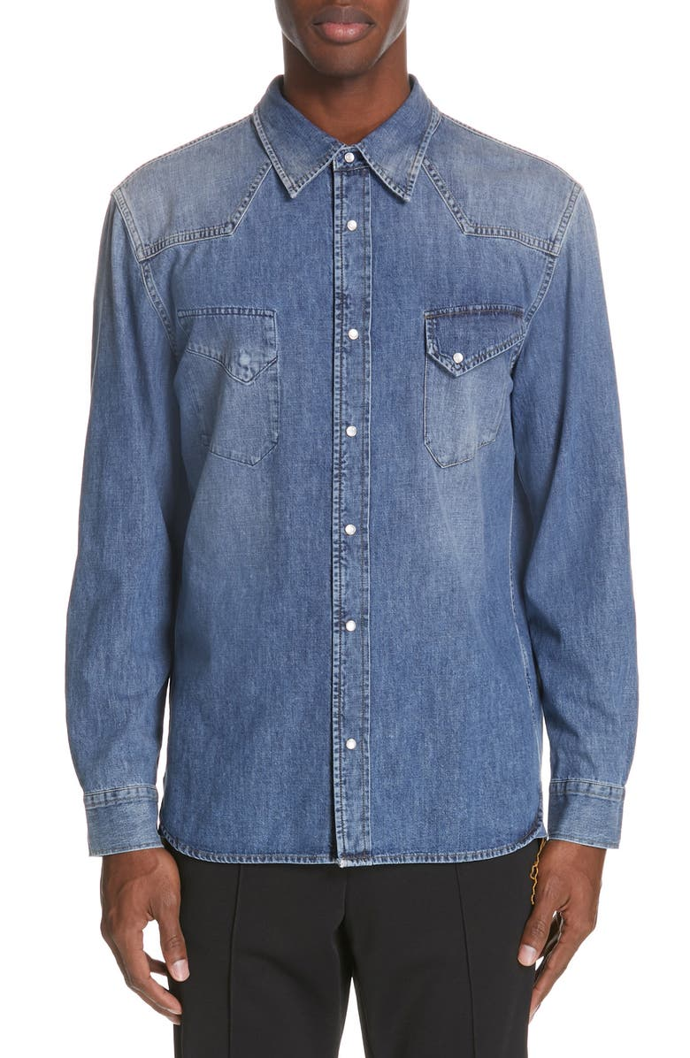 MAISON MARGIELA Denim Sport Shirt, Main, color, 404